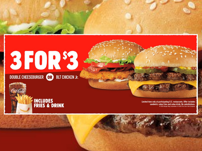 Burger King Puts Together New 3 For 3 Meal Deal Chew Boom
