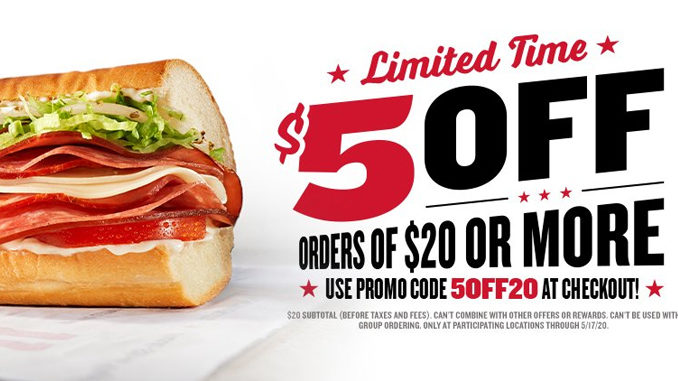 Jimmy John's Offers $5 Off Orders Of $20 Or More Through May 17, 2020
