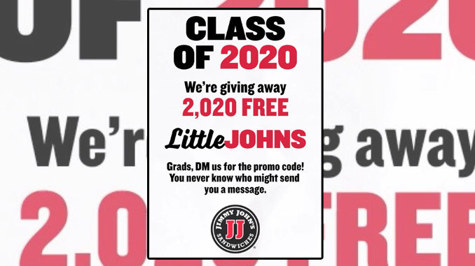 Jimmy John's Celebrates 2020 Grads With Little John Sandwich Giveaway Starting May 21, 2020