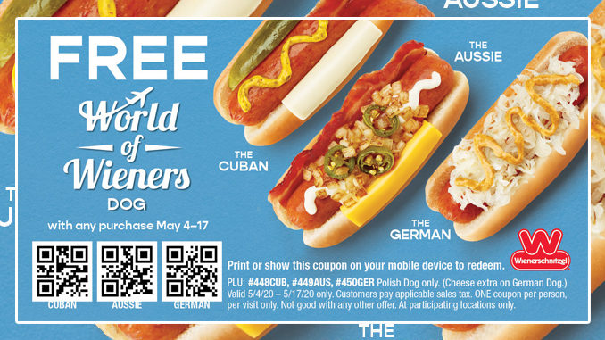Wienerschnitzel Offers Free World Of Wieners Hot Dog With Any Purchase Through May 17, 2020