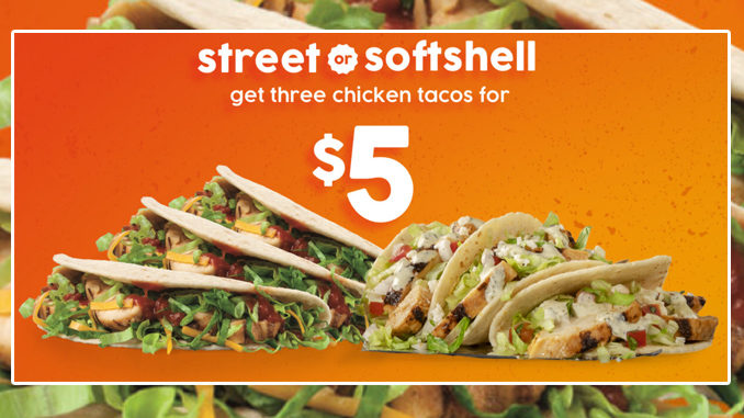 Taco John's Offers Bundles Of 3 Street Or Soft Shell Chicken Tacos For $5