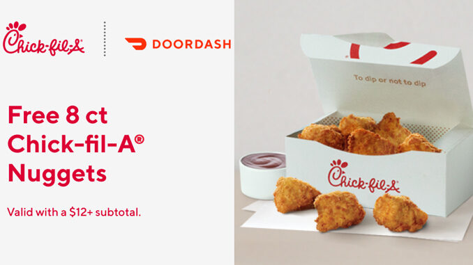 Free 8-Piece Chick-fil-A Nuggets Via DoorDash Through August 22, 2020