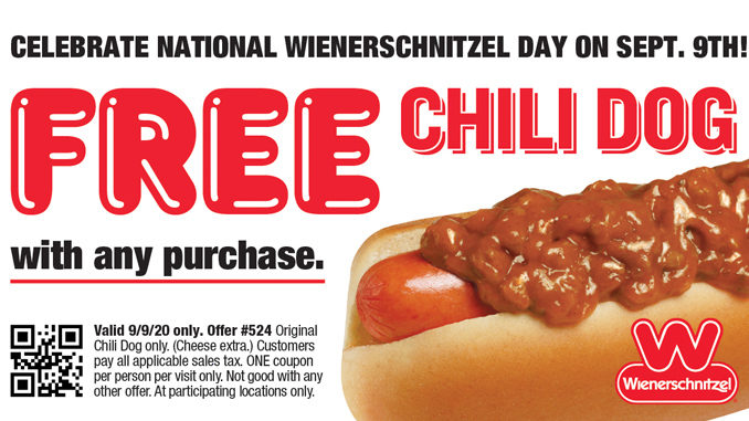 Free Chili Dog With Any Purchase At Wienerschnitzel On September 9, 2020