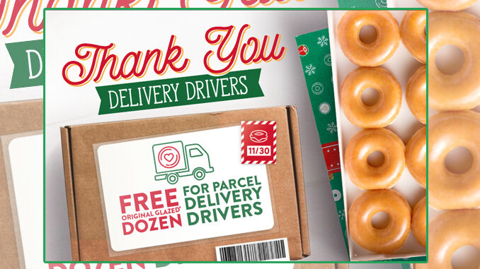 Free Original Glazed Dozen For Delivery Drivers At Krispy Kreme On November 30, 2020