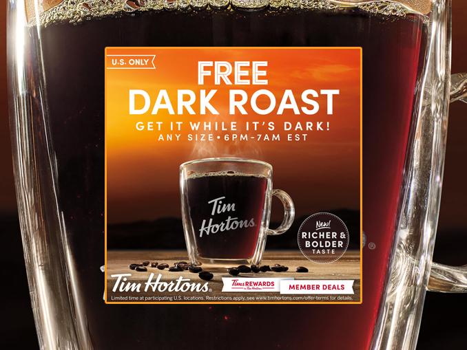 Tim Hortons Offers Free Any Size Dark Roast Coffee Between ...