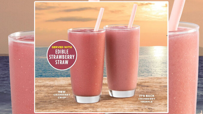 Tropical Smoothie Cafe Blends New Cranberry Crisp Smoothie - Served With A New Edible Straw