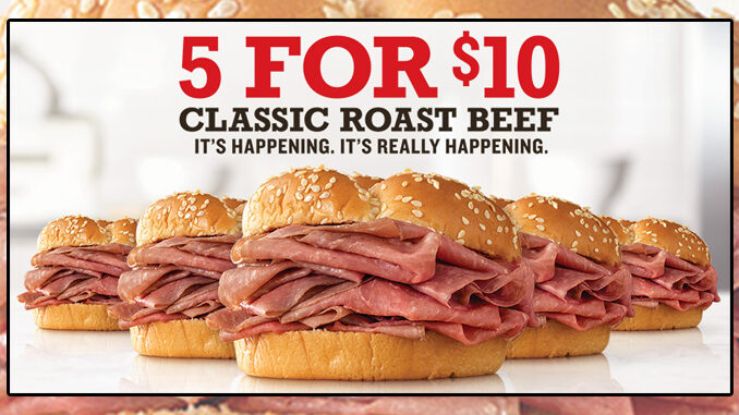 Arby's Offers 5 For $10 Classic Roast Beef Sandwich Deal