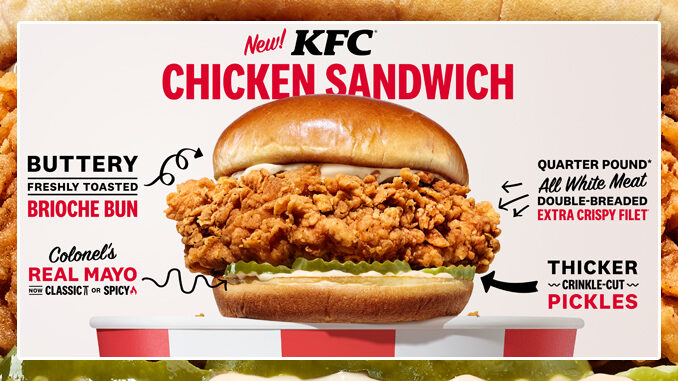 KFC Begins Nationwide Rollout Of New KFC Chicken Sandwich