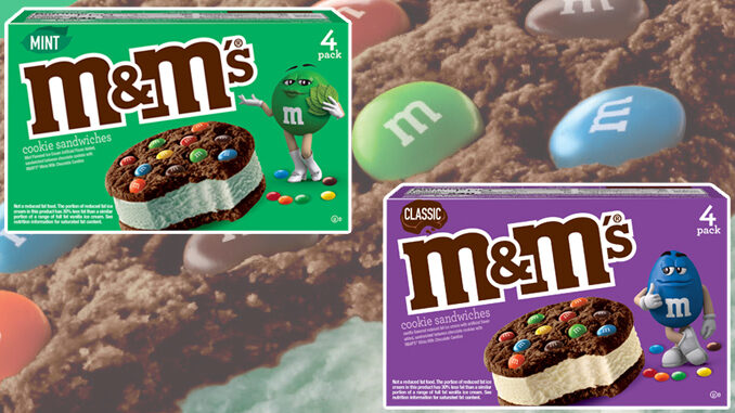 New M&M's Mint Ice Cream Cookie Sandwiches And Classic Ice Cream Cookie Sandwiches Arrive