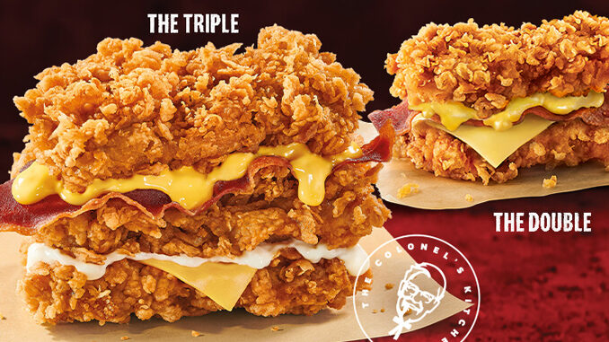 KFC Introduces New Cheesy Zinger Triple Down Sandwich In Singapore