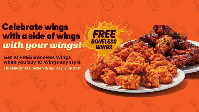 Buy Any 10 Wings, Get 10 free Boneless Wings At Hooters On July 29, 2021