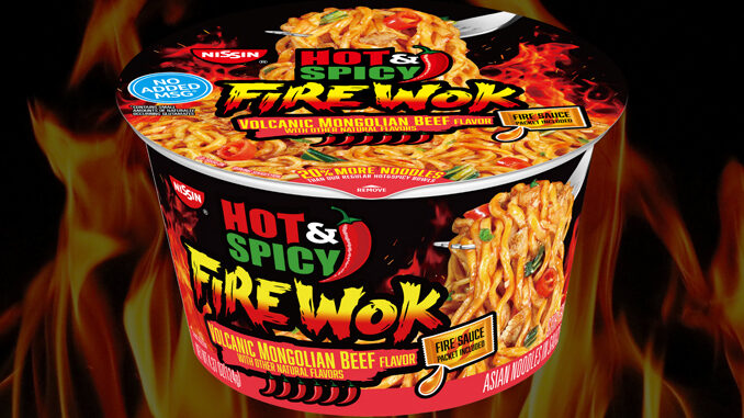 Nissin Foods Launches New Hot & Spicy Fire Wok Volcanic Mongolian Beef Cup Noodles At Walmart